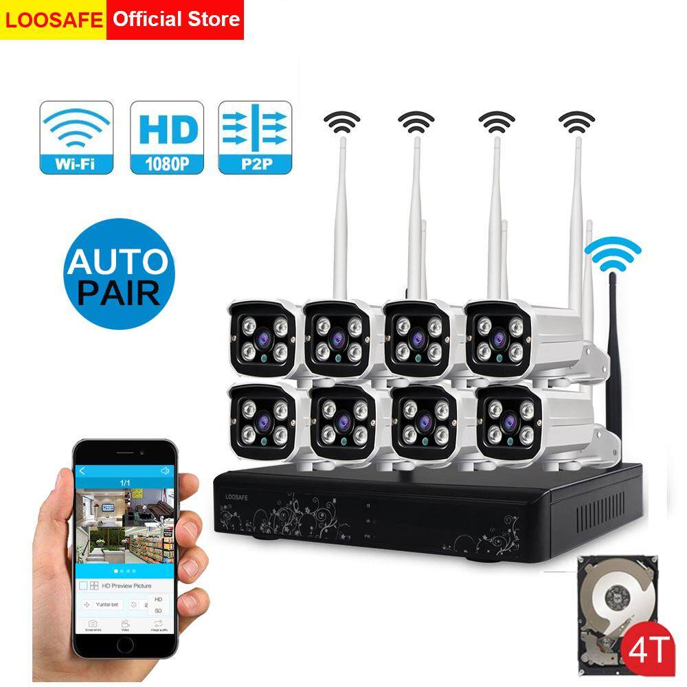 LOOSAFE H 265X HD 1080P Wireless WIFI NVR Kits with 4TB Hard Disk CCTV 8CH  Security Camera System