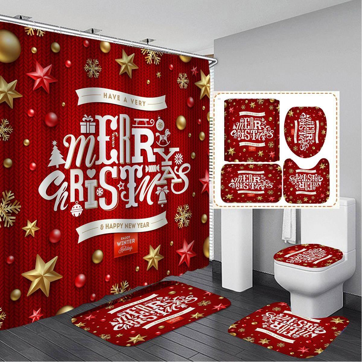3pcs Non Slip Mat 1pcs Shower Curtain Merry Christmas 180x180cm Bathroom Shower Curtain Non Slip Mat Set