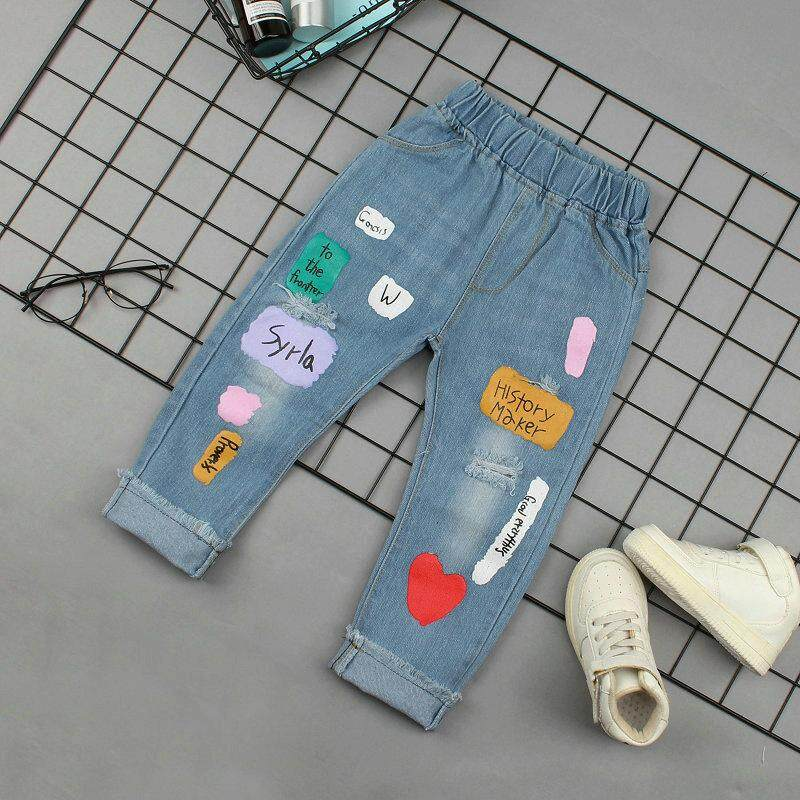 32bf5932647 IENENS Infant Baby Girls Clothes Slim Straight Jeans Light Color Bottoms Children  Girl Denim Clothing Long