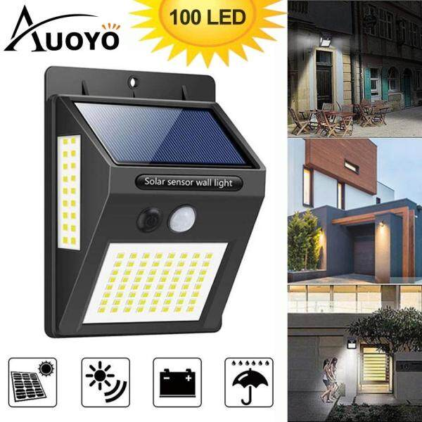 Auoyo 100 LED Solar Light Outdoor Solar Lamp PIR Motion Sensor Wall Lamp Deck Lighting Wireless Security Waterproof IP65 Lights with 270°Wide Angle Illumination Light for Wall Yard Garden