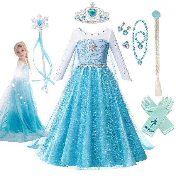 Giá bán Đầm hóa trang nhân vật Elsa công chúa tuyết trang phục lấp lánh đính pha lê dành cho bé gái 3-4-6-8-10 tuổi ( sản phẩm không bao gồm phụ kiện) - INTL