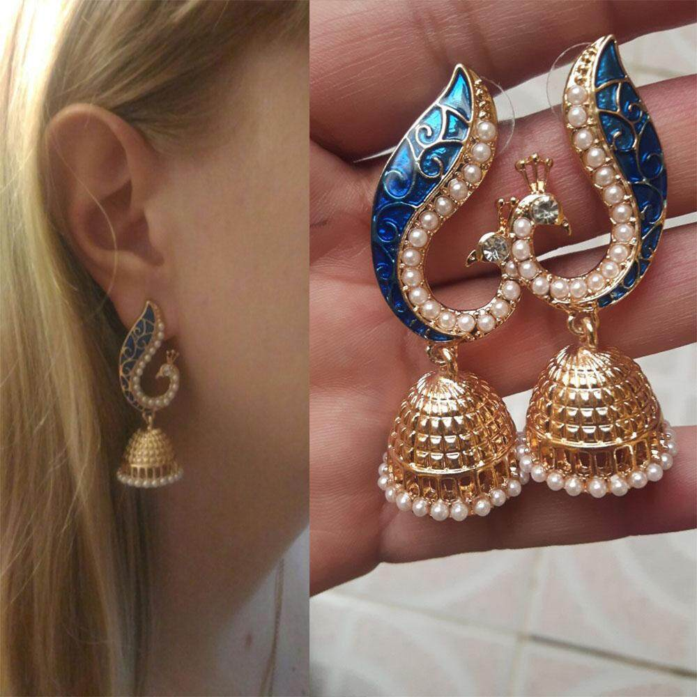 [dailynews]delicate Peacock Dangle Earrings Pearls Palace Lantern Earrings For Girls By Dailynews.