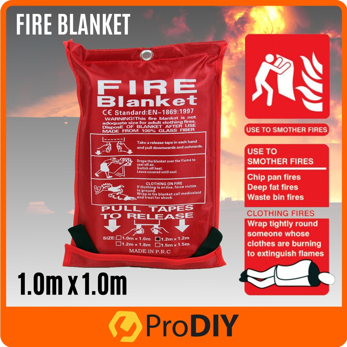 Home Fire Blanket Fiberglass Safety Fire Fighting Prevention ( 1.0m x 1.0m / 1.2m x 1.2m / 1.2m x 1.8m )