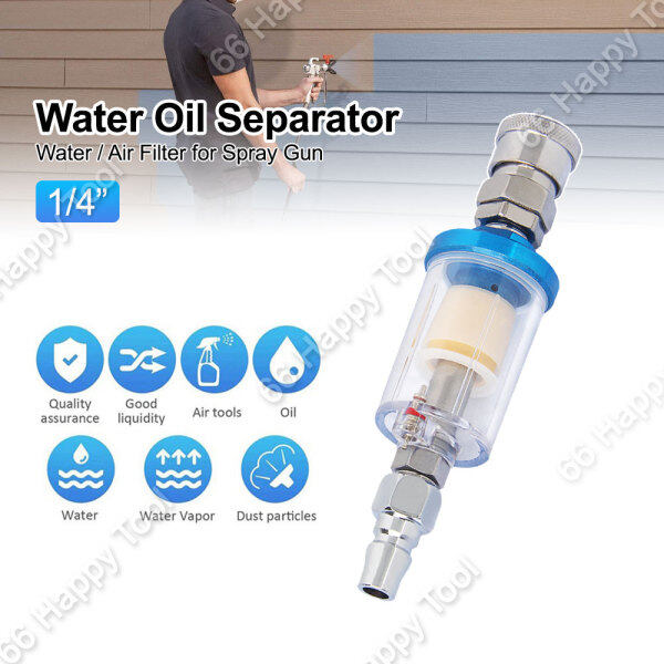 1/4 Water Oil Moisture Separator Water Air Line Filter AF-02 for Spray Gun with Adapter Work On Air Compressor Tools