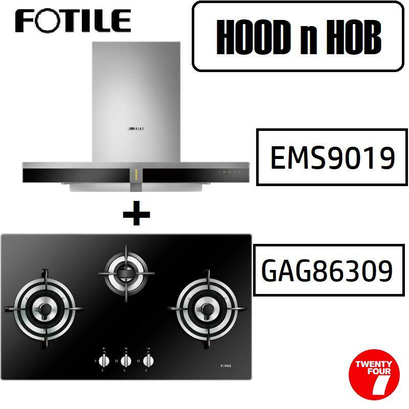 Fotile EMS9019 Chimney Hood + Fotile GAG86309 Built-in Gas Hob