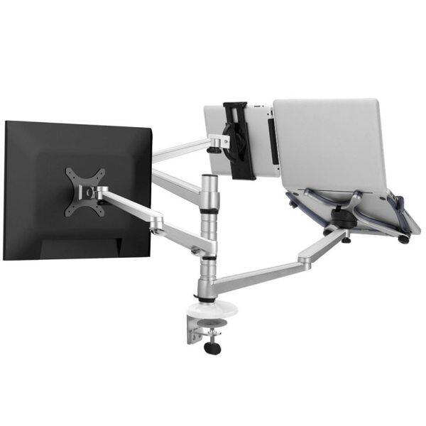 OA-20S 3 In 1 Combination Bracket Stand Adjustable Dual Arm Laptop Alloy Holder 15 inch Laptop 10  Tablet 10 -27  monitor stand