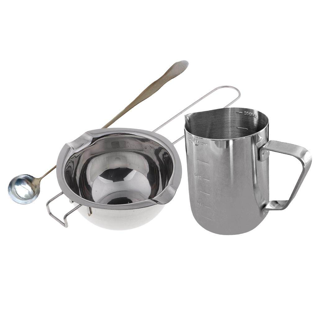 chiwanji 3x Stainless Steel Wax Melting Pouring Pitcher Pot Double Boiler With Spoon