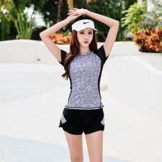 M-XXXL Women Sports Swimwear Plus Size Two Piece Swimsuit Short Sleeve Swimsuits Girl Summer Beachwear Stretch Padded Swim Wear with Sponge Pads