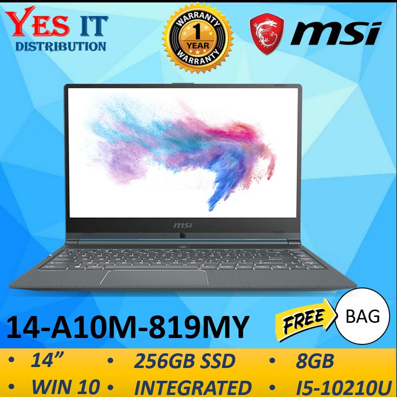 MSI MODERN 14 A10M 819MY CREATION LAPTOP -CARBON GREY (I5-10210U/8GB/256GB SSD/14 FHD/W10/1YR )FREE BAG Malaysia