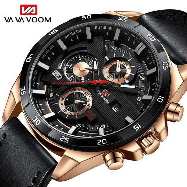 VA VA VOOM Fashion Mens Watch Top Brand Luxury Watch Waterproof Sport Quartz Clock Military Leather Malaysia