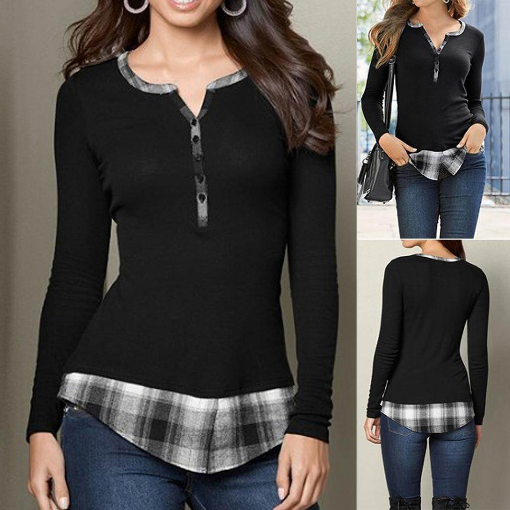 Fashion Women V-Neck Buttons Long Sleeve Plaid Patchwork Top Blouse Casual  Tee c384389af