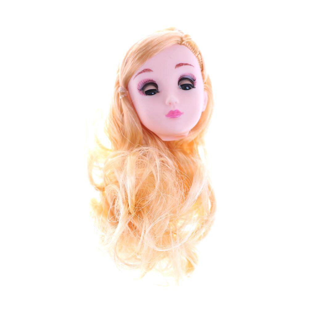Sissi Kids Toy 4D Winking Doll Head with Hair DIY Accessory For 1/6 BJD Barbie Dolls