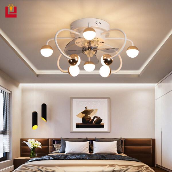 Đèn Trần Led B & B, Quạt Phòng Ngủ Tàng Hình Đèn Trang Trí Phòng Điều Khiển Từ Xa Mờ Ba Màu 220v48w