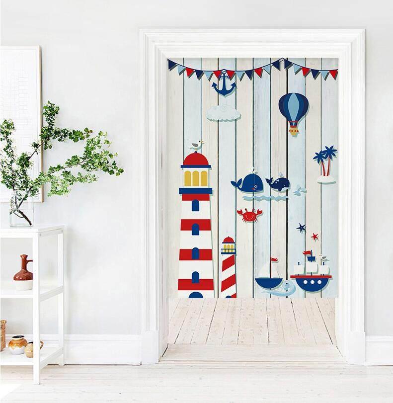 Blue ocean boat style Bedroom living room decorative partition long Door curtain fabric bedroom Print cute Door curtain kitchen short Door curtain with rod