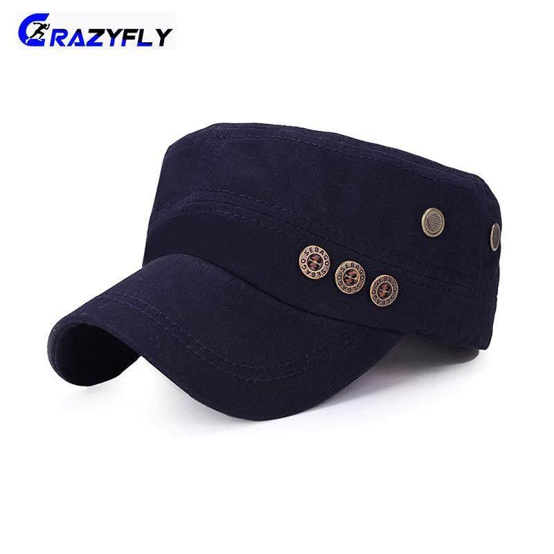 ... Crazyfly Pria Wanita Militer Topi Topi Datar Kapas dengan Lubang Udara Yang Dapat Disesuaikan untuk Outdoor