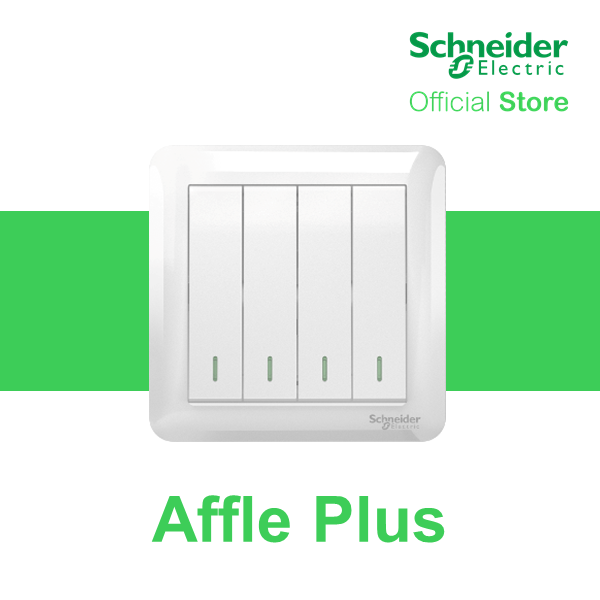 Schneider Electric Affle Plus 10AX 250V 4 Gang 2 Way Switch With Fluorescent Locator, White