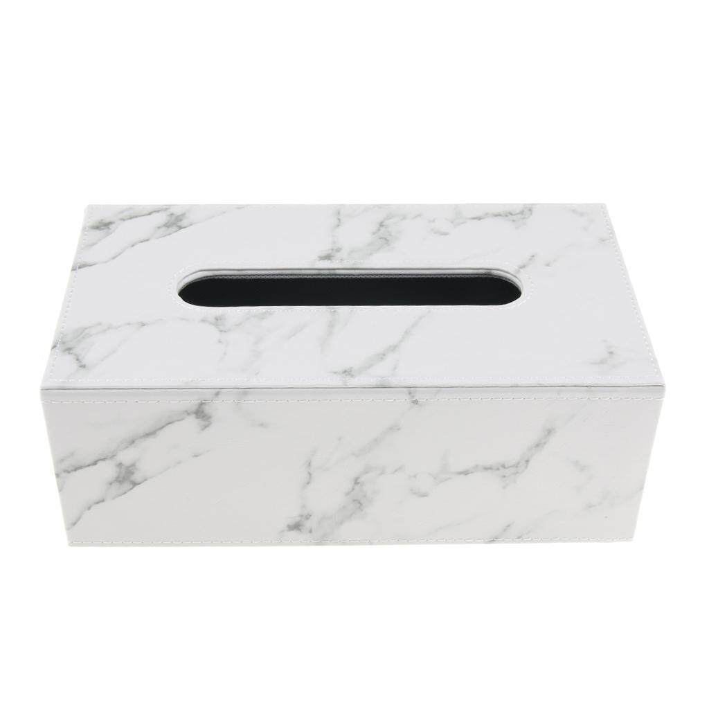 Loviver 2Pcs Luxury PU Leather Rectangular Tissue Box Holders Cover Case Tray Pumping for Home Office Car - White Marble
