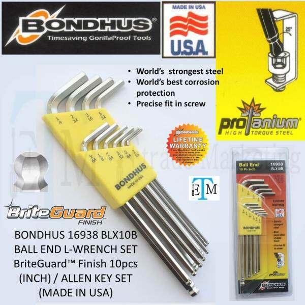 BONDHUS 16938 BLX10B BALL END L-WRENCH SET BriteGuard™ Finish 10pcs (INCH) / ALLEN KEY SET (MADE IN USA)