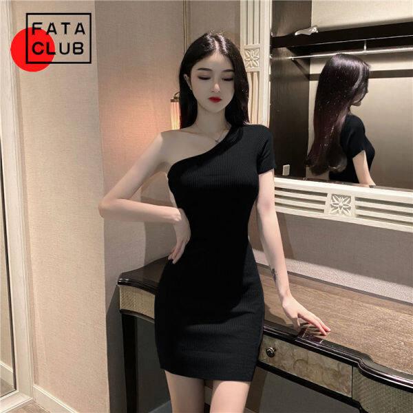 Nơi bán Trang Phục Nữ Mới Hè 2021 FATA Dáng Ôm Vai Nghiêng Phiên Bản Hàn Quốc, Váy Ngắn Có Mông Và Eo Đầm Dệt Kim Đáy Kín Thời Trang
