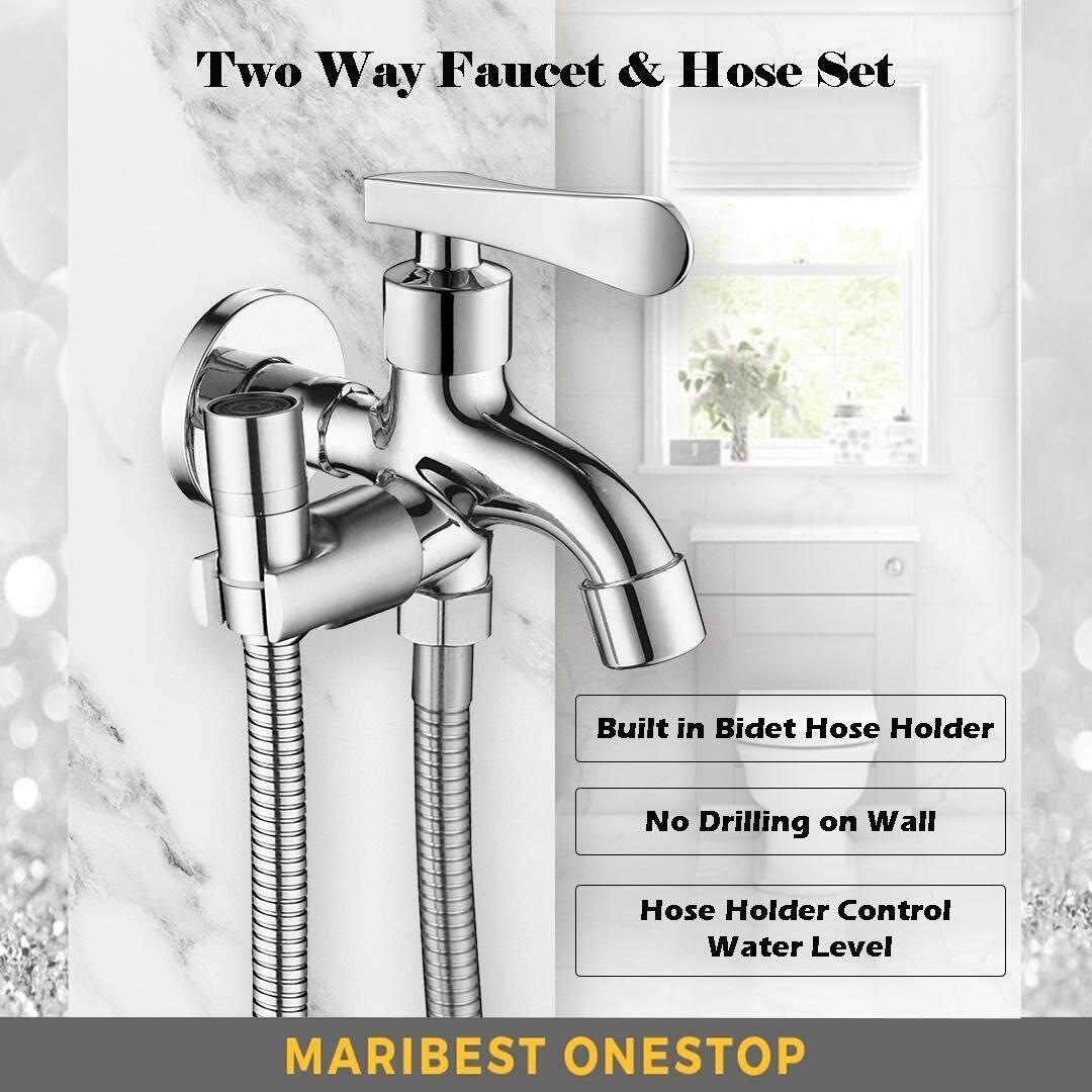 Two Way Faucet Tap with Water Bubbler Head Spout Bidet Hose Bathroom Toilet Set