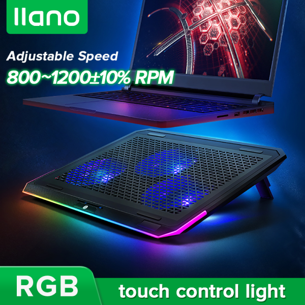 llano Turbo Laptop Cooler with Adjustable Angle RGB Stepless Speed Radiator for Laptop,Ipad and Phone