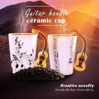 Creative novelty guitar handle ceramic cup free spectrum coffee milk tea cup personality mug unique musical instrument gift cup thumbnail