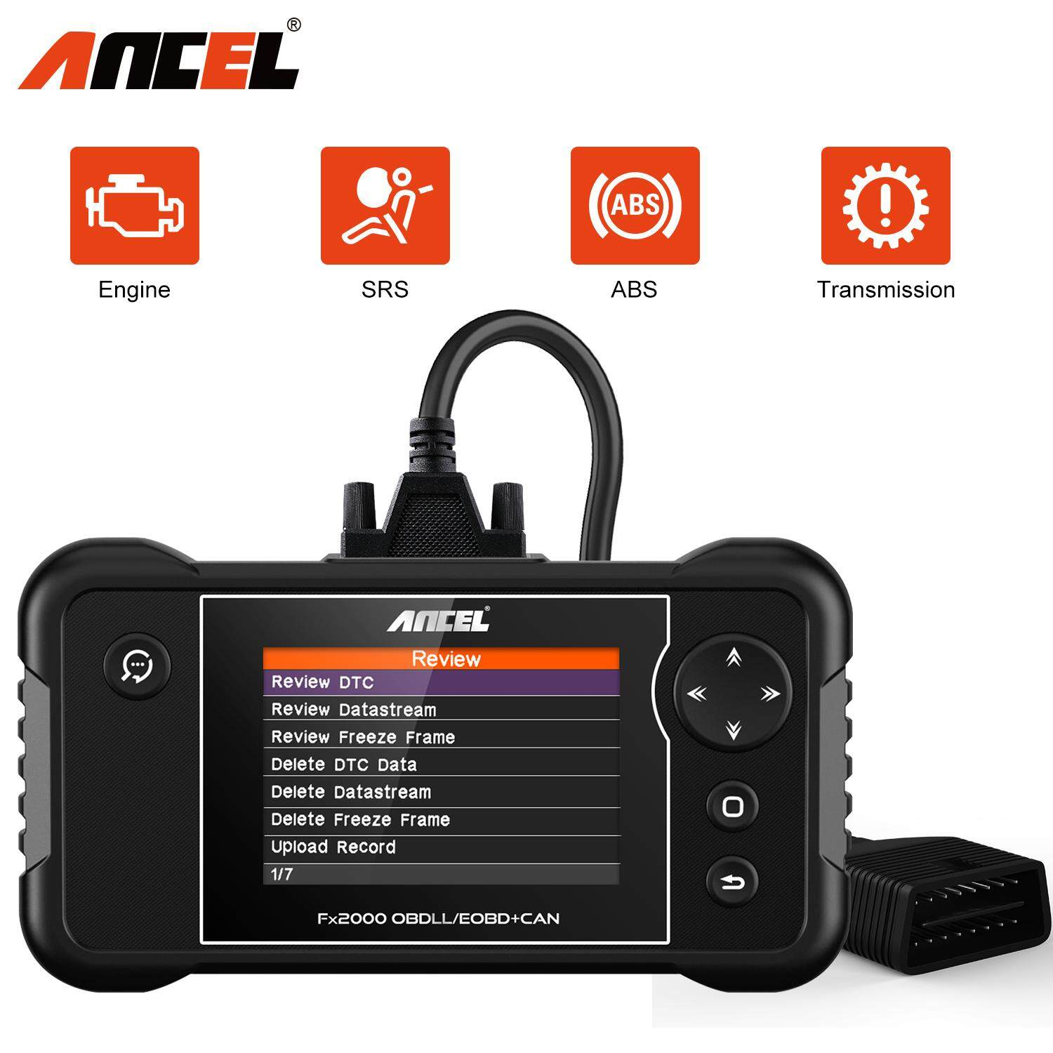 Ancel FX2000 OBD2 Scanner ABS SRS Airbag Engine AT Gearbox Transmission  Code Reader Four Systems Diagnostic Tool OBD 2 Engine Airbag Scanner obd