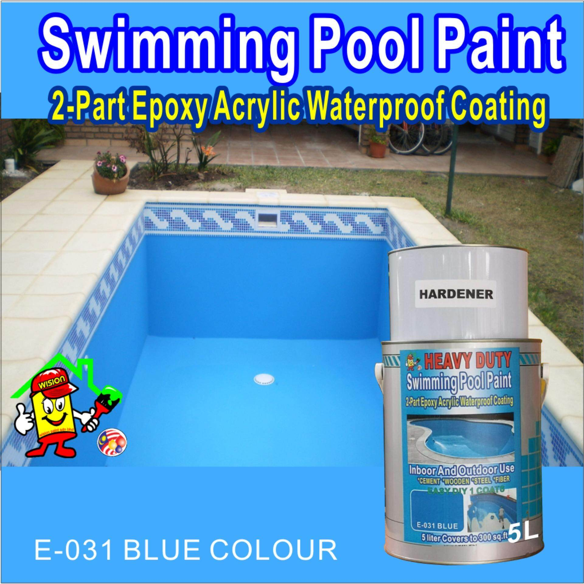 E-031 BLUE ( 5L ) SWIMMING POOL PAINT 2-PART EPOXY ACRYLIC WATERPROOF COATING PAINT INDOOR AND OUTDOOR USE CEMENT WOODEN STEEL FIBER