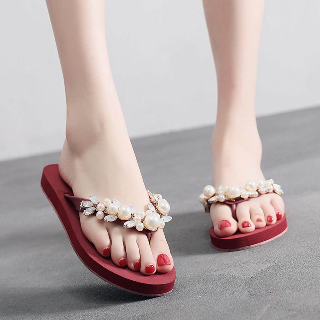 c65e53cb0 Petenies Women Ladies Fashion Summer Crystal Bohemian Style Slippers Beach  Sandals Shoes