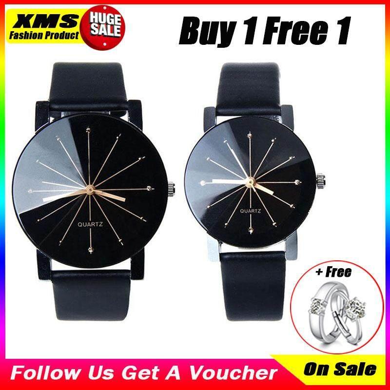 3180b4f6bc546 [Buy 1 Take 1 Free]XiaoMuShan 1 Pair Geneva Couple Quartz Watches Luxury  Top Band Watches Casual Ladies Wrist Watches Clock Fashoin Women Watches