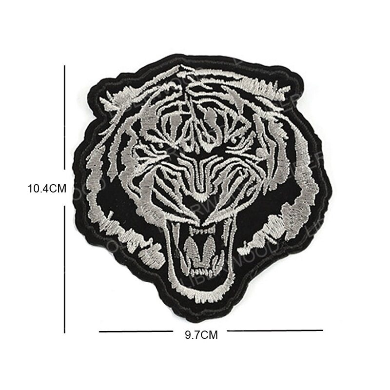 Logo Tiger Head Biker Jeans Jacket Black /& White iron-on Embroidered Patch