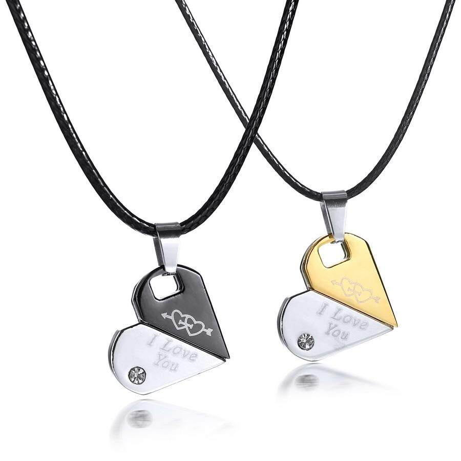Pieces/set Men Couples Jewelry Double Heart Necklaces Couple Necklace Stainless Steel Engrave I Love You Pendants Necklace By Cehvki.