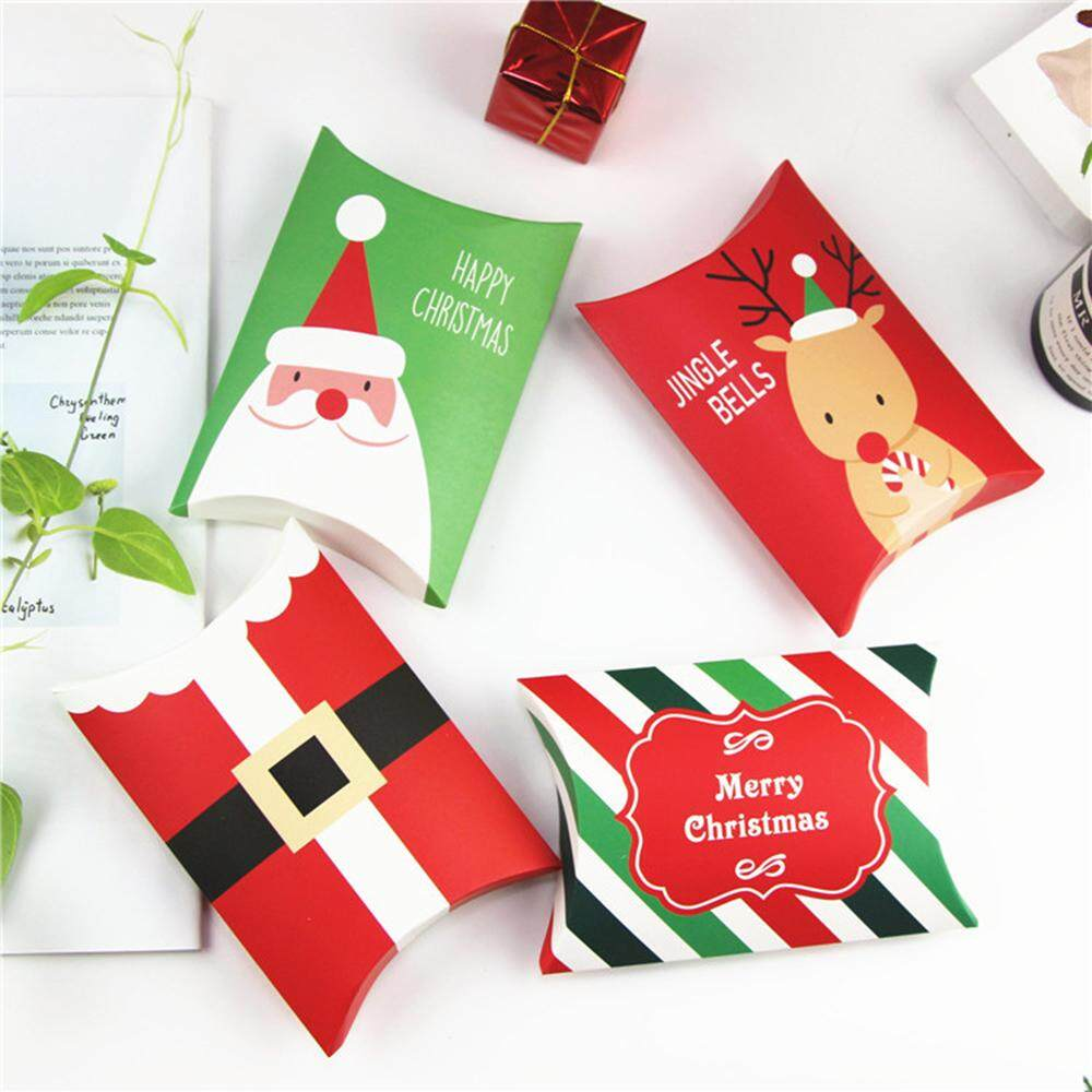 10Pcs Christmas Gift Bag Pillow Shape Xmas Tree Paper Candy Boxes Present Pouch