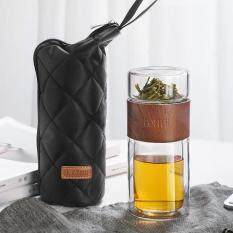 """【ONEISALL】Bình nước thủy tinh có túi đựng trà – Chất liệu: Borosilicate cao thép không gỉ 304 Silicone – Kích thước: 7.0cm x 16cm / 2.7 """"* 6.2"""""""