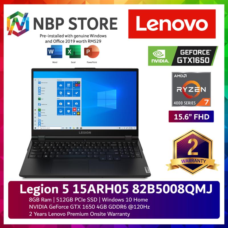 Lenovo Legion 5 15ARH05 82B5008QMJ 15.6 FHD 120Hz Gaming Laptop ( Ryzen 7 4800H, 8GB, 512GB SSD, GTX1650 4GB, W10, HS ) Malaysia