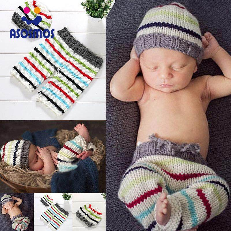 57d326f59 ASM Newborn Knitted Hat with Pants Suit Striped Soft Costume for Baby  Photography Props