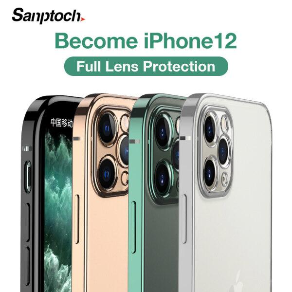 Ốp Điện Thoại Sanptoch Viền Vuông Chất liệu TPU Mềm Trong Suốt Ống Kính Mạ Điện Bảo Vệ Toàn Diện Cho iPhone 11 12 Pro Max Mini XR X Xs Max iPhone 7 8 Plus SE 2020