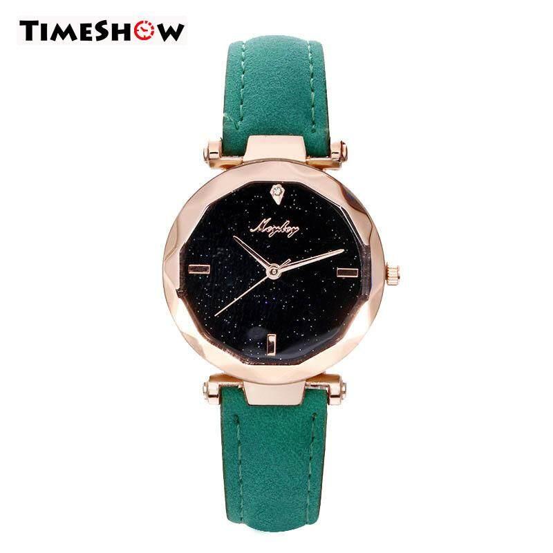 TimeShow Women Quartz Movement Watch Masonry Luxury Starry Dial PU Leather Band Wrist Watch Malaysia