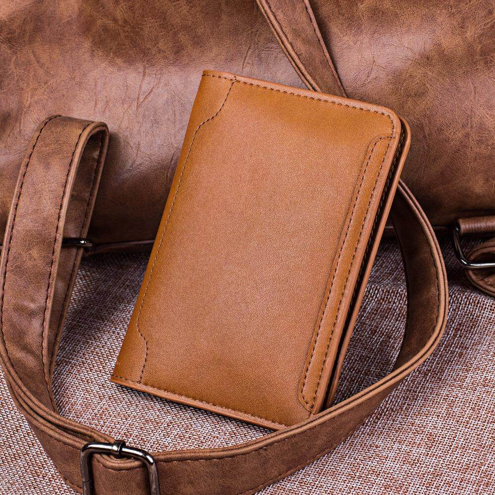 Quality Soft Cow Leather Slim Credit Card Holder Brown Magnetic Opening