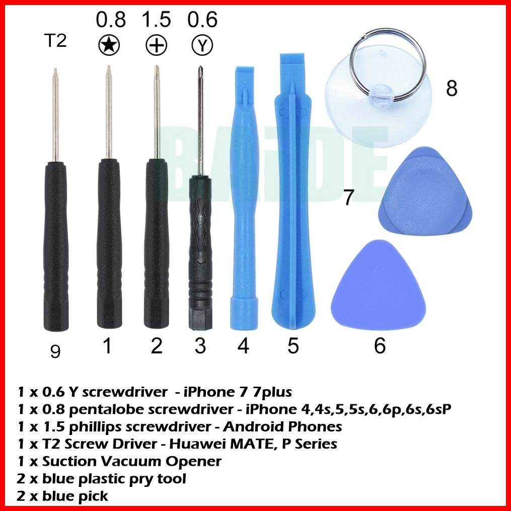 Universal 9 in 1 mobile phone Opening Pry Repair Screwdrivers Tools Kit Set  for iPhone android