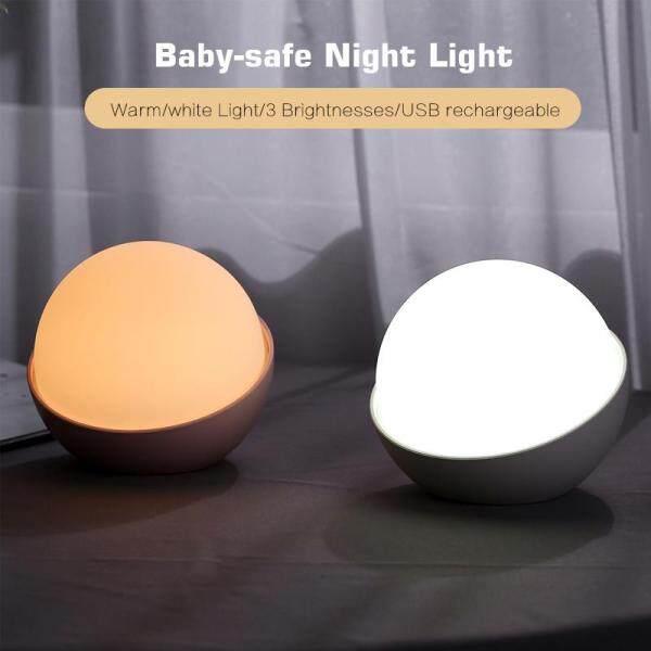 AUGIENB LED Night Light Portable Silicone Eye Caring Nursery Night Lamp Romantic Dim Mood lamp,Bedside Lamp, Baby BPA-Free Adjustable Brightness Warm/White Light