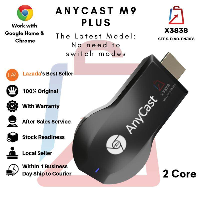 Genuine Anycast M9 Plus 1080p Wireless Wifi Chromecast Miracast Dlna Airplay Tv Dongle Hdmi Compatible With Google Home & Chrome By X3838 Official Store.