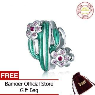 BAMOER Xương Rồng Tráng Men Xanh Bạc Nguyên Chất 2020 Thiết Kế Mới 925, Với Hoa Beads Quyến Rũ Cho Vòng Tay Bạc Nguyên Bản BSC261 thumbnail