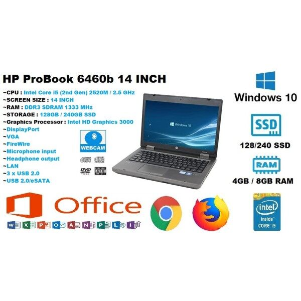 HP EliteBook 8460P 14-inch Notebook PC - Intel Core i5-2520M Processor (2.50 GHz, 3MB L3 cache, 2 cores/4 threads, 35 W) Up to 3.20 GHz with Intel Turbo Boost Technology , Windows 10 Professional Malaysia