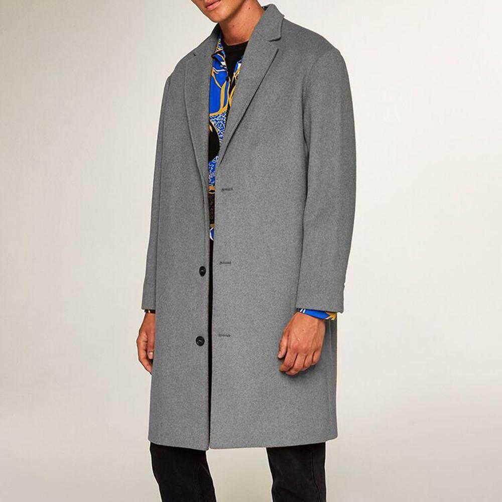 Men's Autumn Winter New Medium Long Woolen Coat Button Lapel Coat