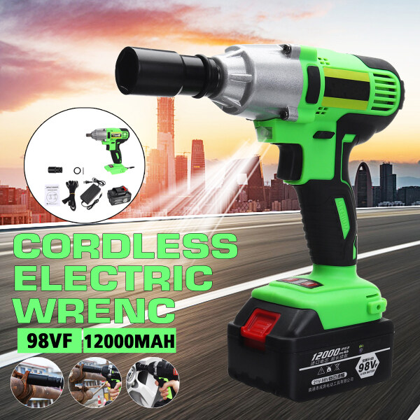 98VF 500Nm Power Tools 500Nm High Torque Brushless Electric Impact Wrench Cordless for Woodworking Engineering Construction + 12000mAh Battery