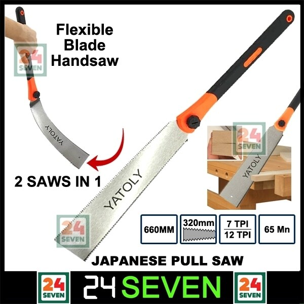 [ READY STOCK ] Yatoly Japanese Double Edge Pull Saw Double Sided Teeth Hand Saw 660mm 7tpi 12tpi / Flush Cut Saw Flexible Blade Handsaw for Woodworking