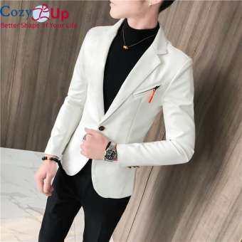 COZY ฤดูใบไม้ร่วงใหม่หนัง Faux ชุดชายเสื้ออินเทรนด์ SLIM FIT เสื้อสีขาวสีแดงสีดำแฟชั่น Streetwear Blazer แจ็คเก็ตชาย-