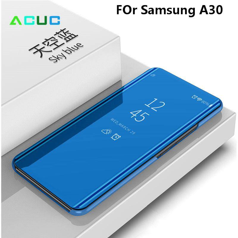 Acuc For Samsung Galaxy A30 A20 A50 A50s A30s A70 A70s Translucent Flip Phone Case Clear View Mirror Plastic Case Flip Built In Stand Casing 360 Full Cover Protect.