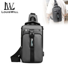 LouisWill Crossbody Bags Men Bags Shoulder Bags Fashion Waist Bags Nylon Handbags Backpacks Waterproof Sling Bags Chest Bags with USB Interface for Men Outdoor Sports